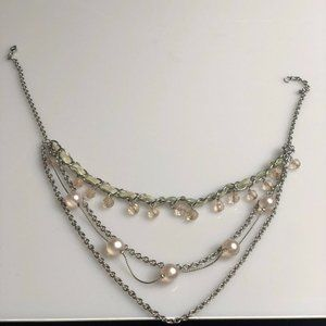 Costume Jewelry 4 Tier Layered Silver ToneNecklace